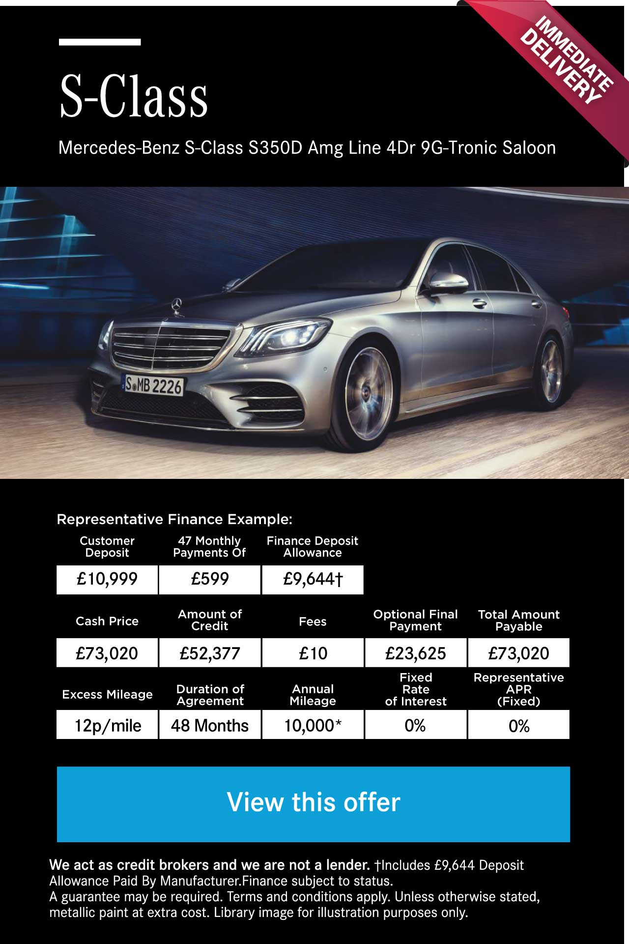 Mercedes-Benz S-Class S350D Amg Line 4Dr 9G-Tronic Diesel Saloon 170918